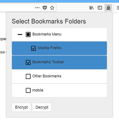 Easy to select bookmarks you want to encrypt/decrypt.