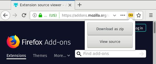 """Extension button and the """"Download as Zip"""" and """"View source"""" options at an add-on page."""