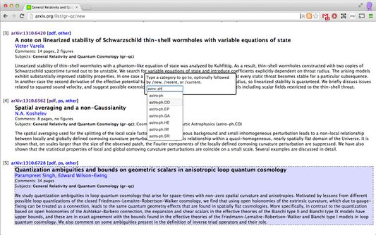 Goto-box gives keyboard navigation to arXiv categories. Access with 'g' key.