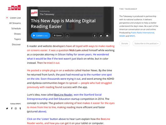 """BeeLine Reader running on a WNYC news article about BeeLine Reader. Shown using the """"Bright"""" color scheme—others presets are available, as well as support for custom color scheme creation."""