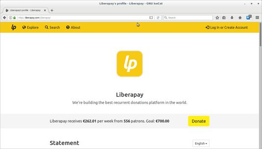 When clicked, it redirects us to the Liberapay account corresponding to that website, if there is any.
