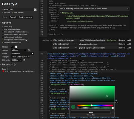 Editor - showing RegExp tester and colorpicker