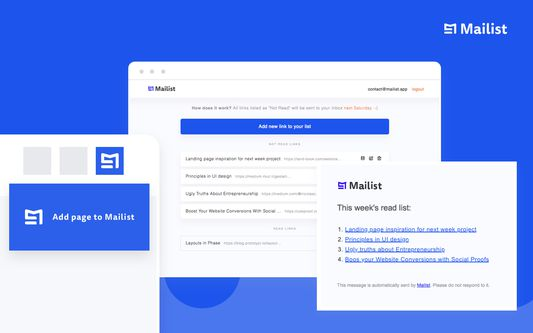 Add any page using extension to your Mailist.