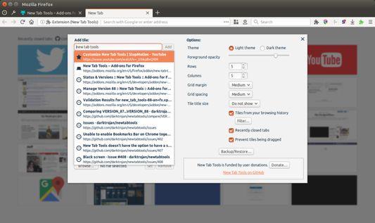 New Tab Tools options pane.