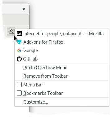 A list of the last closed tabs can be found in the context menu of the button. You may pick any tab in this list to get it restored.