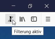 Schnelles Ein-/Ausschalten der Binnen-I Filterung über frei platzierbares Icon in der Toolbar.
