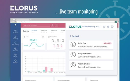 Real-time team monitoring: See who's currently working on what.