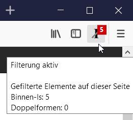 Optionale Möglichkeit zur Anzeige der Zahl der gefilterten Elemente pro Seite