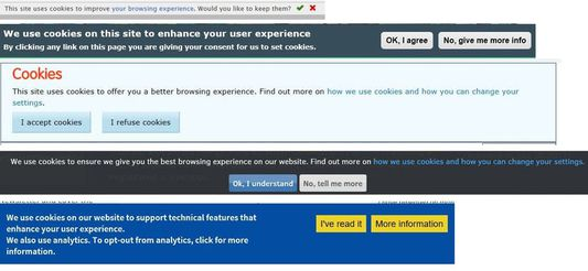 """Get rid of these with """"I don't care about cookies"""" browser extension."""