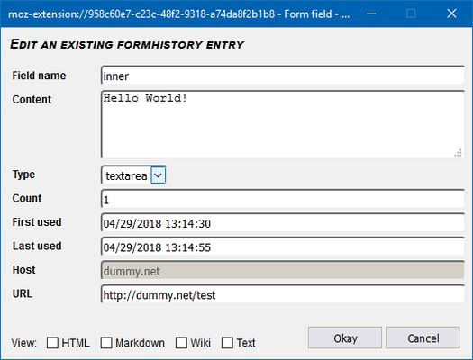 Form history text entries can be viewed, edited or added manually.