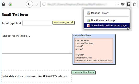 Use the Show fields option to discover all form fields displayed on the current page and see the details of each field.
