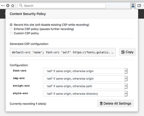 After recording, Laboratory generates a Content Security Policy that matches the resources your site uses.