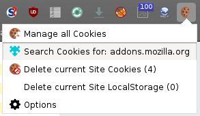 Menu contextuel sur Firefox. Supprimez les cookies, sauf ceux protégés, en 2 clics à tout moment sur le site Web que vous consultez.