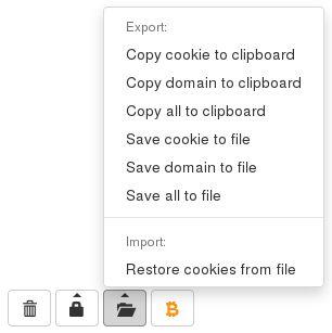 Exportez et restaurez facilement un ou plusieurs cookies. Les formats pris en charge sont le format JSON, similaire à l'ancien addon CookieManager+, et le format Netscape pour les outils GNU wget/curl.
