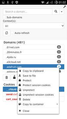 Cookie Quick Manager est aussi disponible sur Android et sur le matériel disposant d'écran de taille restreinte.