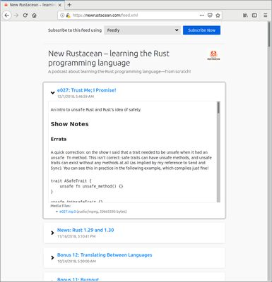 Screenshot of a preview of a RSS feed with enclosed media files