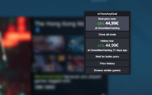 Example of IsThereAnyDeal Everywhere on Steam