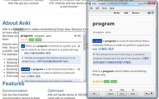 Exactly same view between ODH popup and anki card