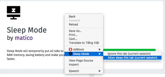 """Allow setting """"Ignore this tab (current session)"""" and """"Allow sleep this tab (current session)"""" on context menu (right click on tab page)"""