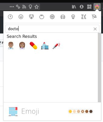 Adjust the skin color and search for emojis.