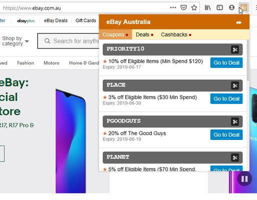 Clicking on the addon shows active coupon code, deals and cashbacks from OzBargain