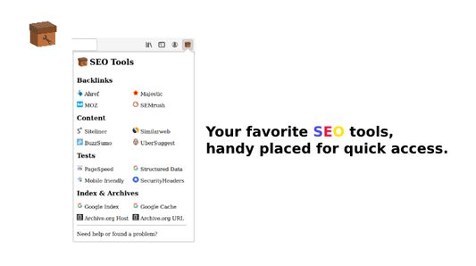 A simple dropdown to access all your favorite SEO Tool easily.