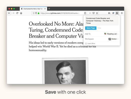 Save articles with one click directly to any page in Notion.