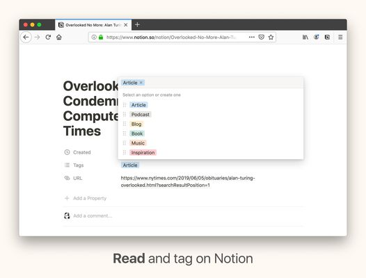 Read and tag articles on Notion. The Web Clipper saves webpage content into your workspace.