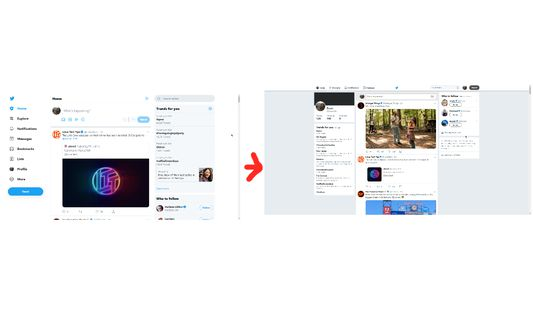 image of new twitter with an arrow to an image of old twitter