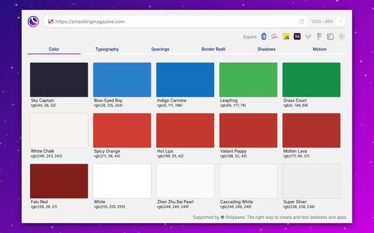 Main app showing the colors used on smashingmagazine.com
