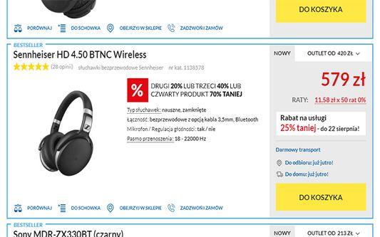 Na stronie sklepu internetowego wybieramy produkt