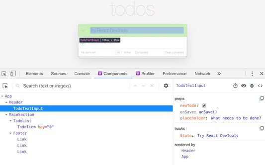 Shows the DevTools UI with an example TODO List app.