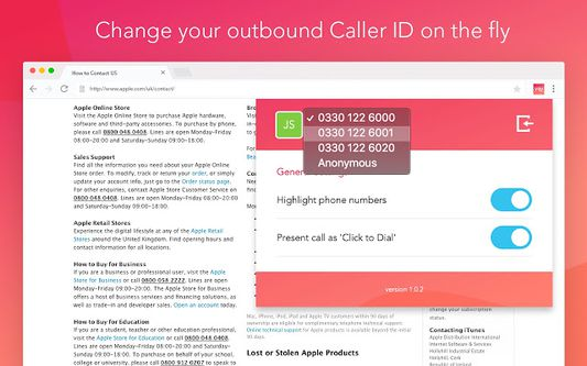 Change your outbound caller ID on the fly