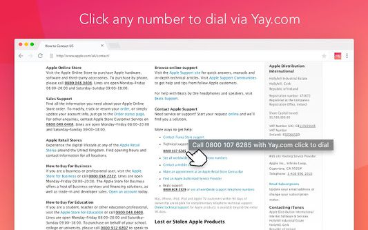 Click any number to dial via Yay.com