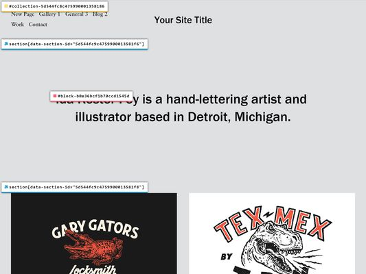 Squarespace v7.1 web page, viewed while logged out using the Squarespace ID Finder.
