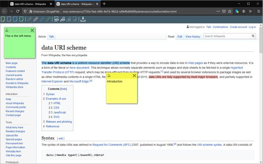 Using SingleFile to annotate and save a web page on Wikipedia