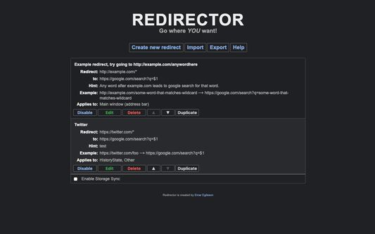 The UI for editing redirect in dark mode.