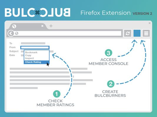 """Access your Bulc Club Member Console and create BulcBurners (single-use, disposable email addresses) directly from your the Bulc Club icon on your Firefox browser bar. Highlight any email address or domain and choose """"Check Bulc Club Member Rating"""" from the context menu (right click) to see the current spam score for any address/domain."""