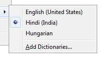 """Hungarian with optional accents can be activated by choosing """"Hindi (Indian)""""."""