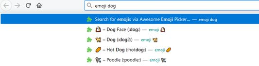 Search for emojis directly in your address bar (needs to be enabled manually).