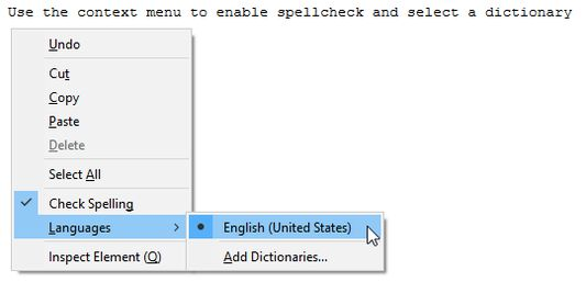 Use the context menu to enable spellcheck and select a dictionary
