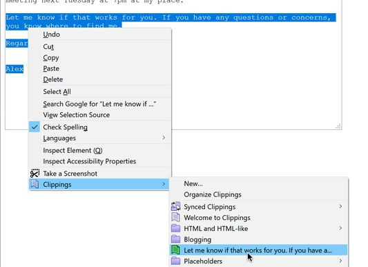 Pasting a clipping in Firefox.