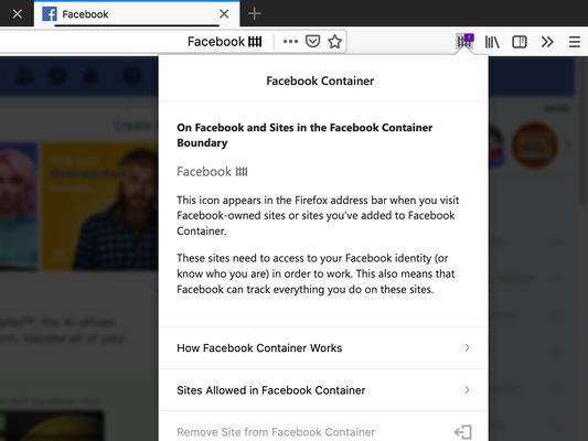 When inside the Facebook Container, a badge is displayed in the URL bar.
