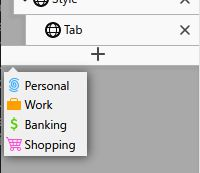 Long-press on the new tab button shows the container chooser