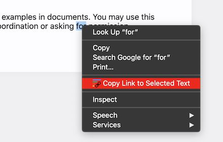 Copying a link to a selected text fragment with the Link to Text Fragment extension.