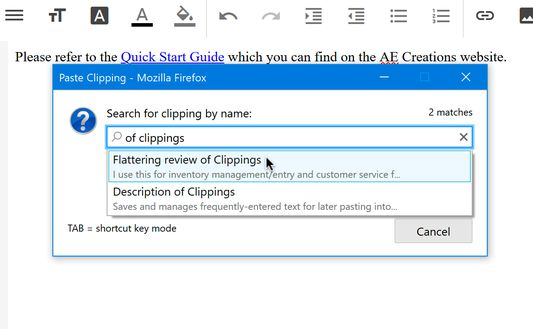 Paste a clipping by typing its name and selecting it from an autocomplete menu.