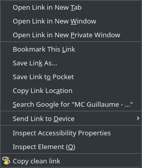 """Copy clean link"" option of the context menu"