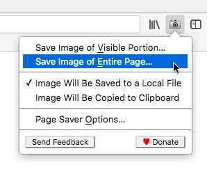 Page Saver toolbar menu.