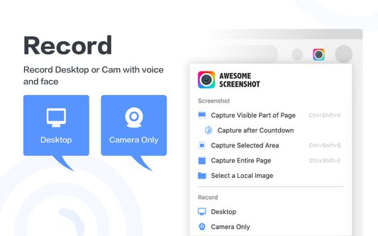 Record desktop or cam with voice and face