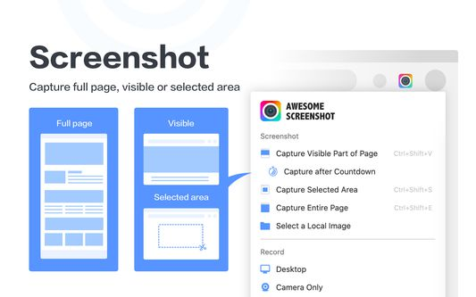 Screenshot, capture full page, visible or select area